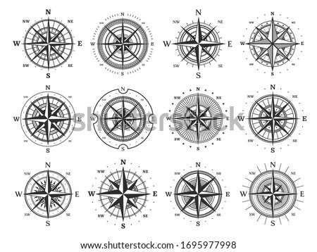 Nautical compass wind rose vector icons. Isolated vintage symbols of marine maps and antique cartography, navigation compass rose or windrose with cardinal directions of North, East, South and West