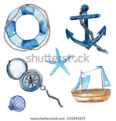 nautical design elements hand