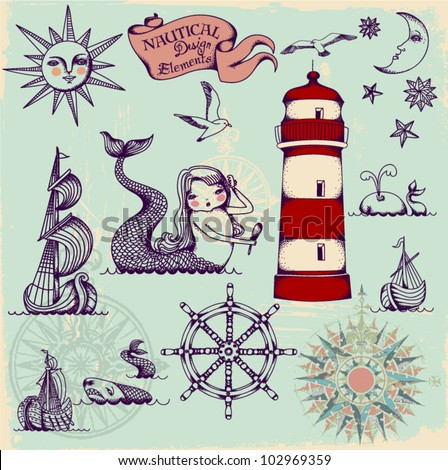 Nautical Design Elements - Whimsical set of hand drawn nautical design elements resembling medieval maritime maps