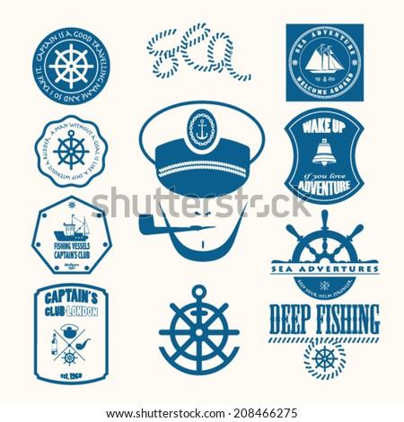 Nautical helm design elements stock vector