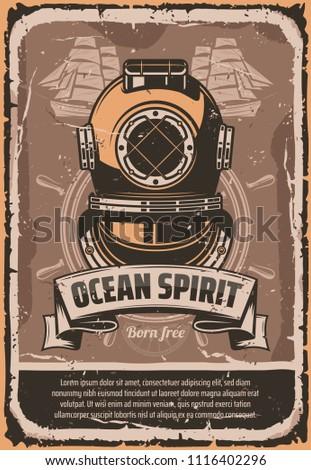 nautical helmet retro poster...