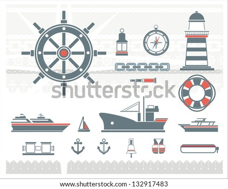 Nautical icons in a one-color and two-color sets.