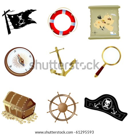 Nautical icons, isolated objects over white