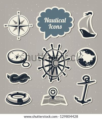 Nautical icons set