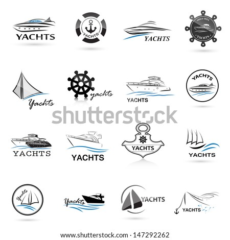 Nautical icons Set - Isolated On White Background - Vector Illustration, Graphic Design Editable For Your Design. Nautical Logo