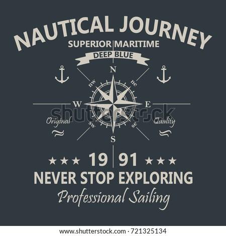 Nautical Journey T-Shirt Design Black and White. Vector.