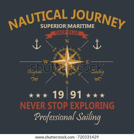 Nautical Journey T-Shirt Design. Vector.