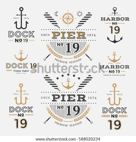 nautical label anchor no 19 set ...