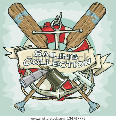 Nautical Label with sample text Sailing Collection