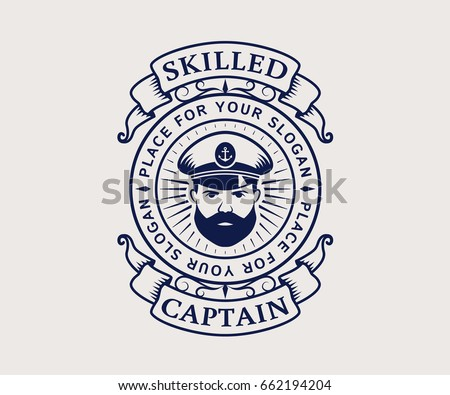Nautical logo with captain icon. Elegant vintage emblem isolated on white background. Vector template for cruise ship, sea travel agency or other marine companies.