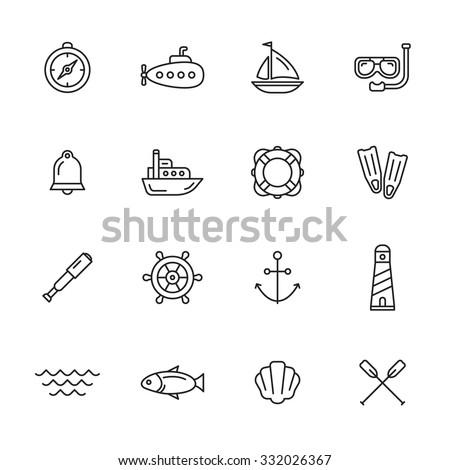 Nautical, marine and sea thin line icons