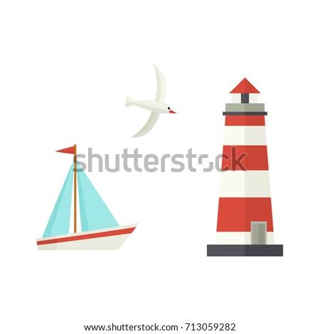nautical  marine set   sailboat