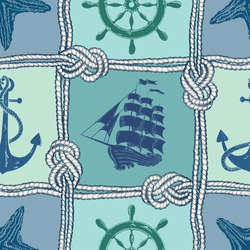 Nautical patchwork seamless pattern with ropes, starfish, sailing ship, anchor and wheel