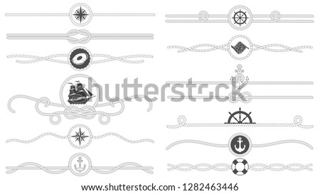 Nautical rope border. Nautical tied ropes line, sea ship anchor divider and retro marine decor borders. Sailor maritime ropes or old boat knot isolated vector symbols set