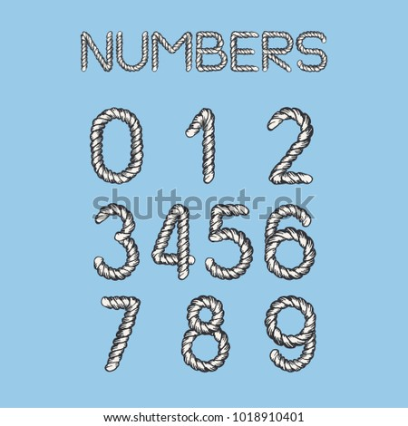 Nautical Rope Font. Light twisted handdrawn cord numbers isolated on blue background. Realistic maritime style.