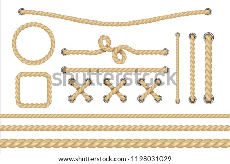 Nautical rope. Round and square rope frames, cord borders. Sailing vector decoration elements. Rope marine, nautical border, cord round, string knot twisted illustration