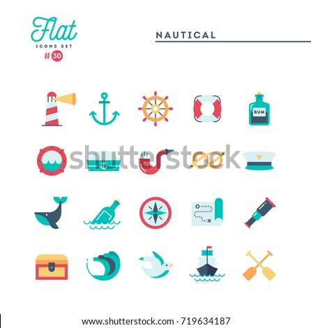 Nautical, sailing, sea animals, marine and more, flat icons set, vector illustration