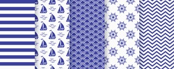 Nautical seamless pattern. Sea navy blue backgrounds with sailboat, waves, zigzag, stripe and wheel. Vector. Set marine textures. Geometric print for baby shower, scrapbooking. Monochrome illustration