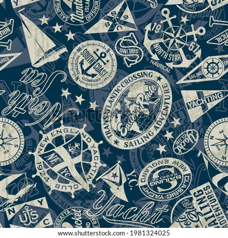 Nautical style marine sailing badges wallpaper vector seamless pattern grunge effect in separate layer Imagine de stoc ©