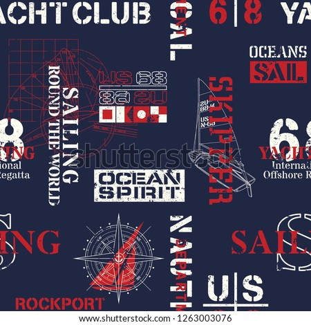 Nautical style marine sailing elements wallpaper abstract vector seamless pattern grunge effect in separate layer