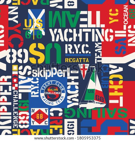 Nautical style yacht sailing elements wallpaper abstract vector seamless pattern