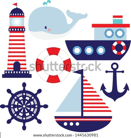 Nautical themed baby room illustrations