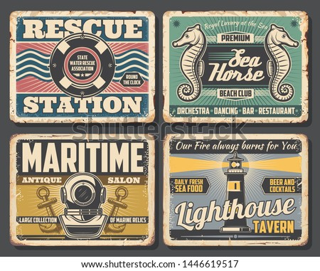 Nautical vector design of rusty signboards with sea ship or boat anchors, ocean waves and marine rope, navigation lighthouse, vintage diving helmet, lifebuoy and seahorse. Beach club bar or restaurant