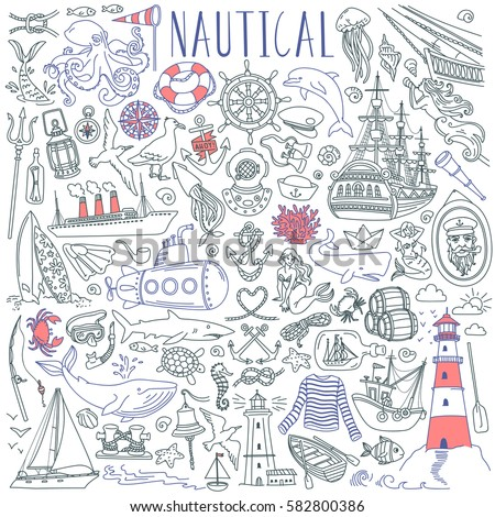Nautical vector drawings collection. Sea life, marine symbols, various boats and ships. Objects isolated on white background.