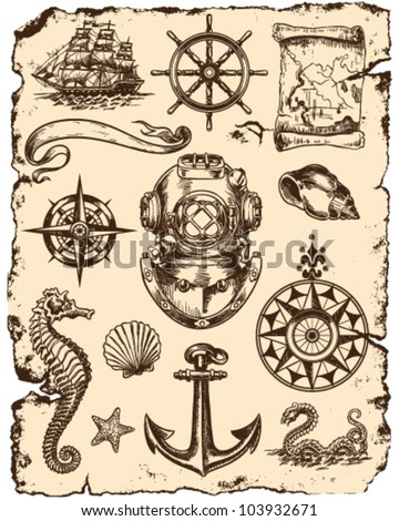 Nautical Vector Illustration Set - stock vector