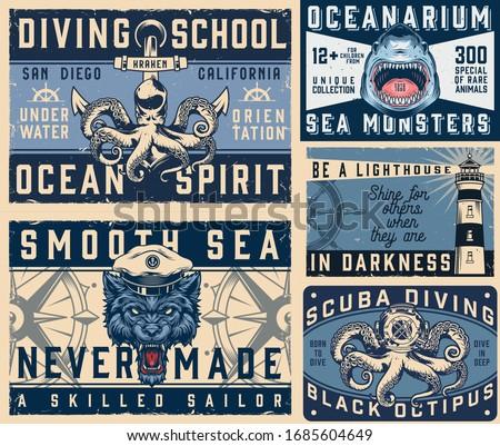 nautical vintage colorful