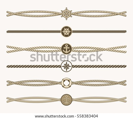 Nautical vintage rope vector dividers. Design of border frame illustration.