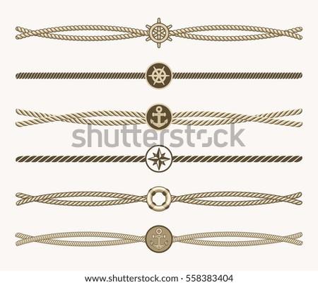 Nautical vintage rope vector dividers. Design of border frame illustration.