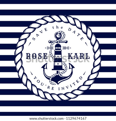 Nautical wedding invitation card. Elegant template with anchor, lighthouse, rope and stripes for sea theme wedding party. Vector illustration in white and dark blue colors.