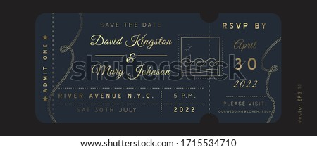 Nautical Wedding Invitation Vector  Boarding Pass ticket template.Sailor Boat theme in Classic vintage style.Elegant sea invite card overlay in gold and navy blue colors. Modern luxury design.