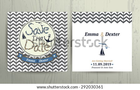 nautical wedding save the date rope letter card on chevron pattern background