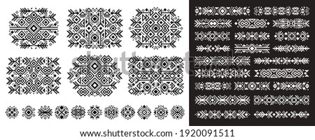 Navajo elements set in boho style on white and black. Abstract Aztec elements. National tribal pattern. Logo, symbol and background.
