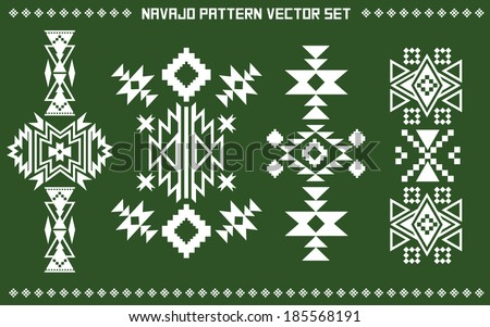 Navajo pattern vector set on green board