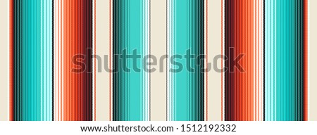 Navajo White, Turquoise & Orange Mexican Blanket Serape Stripes Seamless Vector Pattern. Rug Texture with Threads. Native American Textile. Ethnic Hipster Boho Background. Pattern Tile Swatch Included