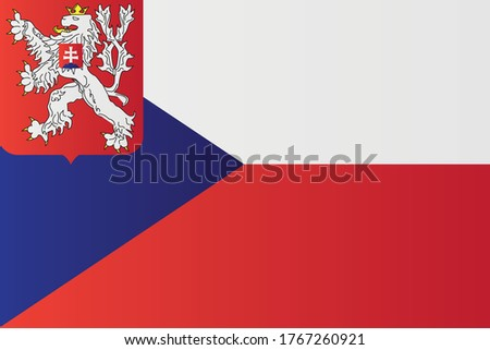 Naval Ensign of Czechoslovakia. (1935–1955) national flag. State vector illustration czech and slovak history symbol. Foto d'archivio ©