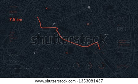 Navigate device dashboard GPS tracking map, Futuristic mapping technology route of destination point and location on the streets of the city Paris, high tech vector background