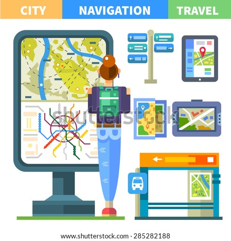 Navigating the city. Public transport: Metro and bus, bus stop, signage, map. The girl stands near the city plan. Vector flat illustration