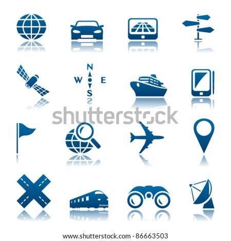 Navigation and transport icon set