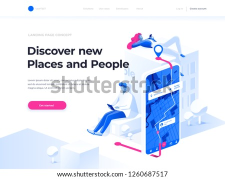 Navigation app with map and location pin. GPS and Tracking Mobile Applications Concept. People chat and explore the route using smartphones. Isometric illustration. Augmented reality concept.