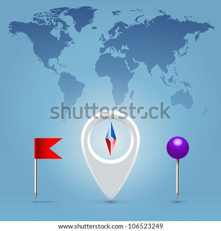 Navigation application compass, pin and flag glossy realistic icon set hanging over blue background - stock vector