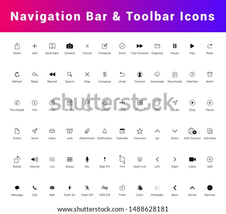 Navigation bar and tab bar icon set. Mobile app UI Kit, Line icons isolated for all mobile platform apps. Flat Mobile Web UI Kit. home, search, internet, delete, contact, alarm, play line icons etc. Imagine de stoc ©