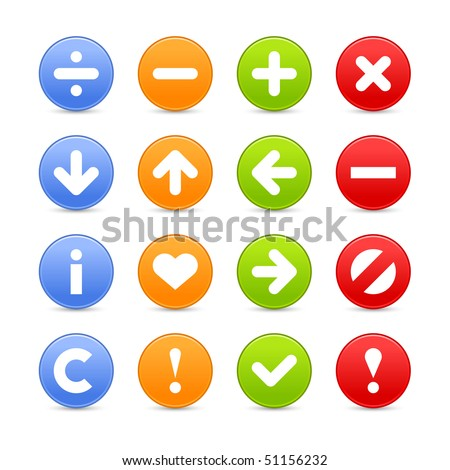 Colored navigation web buttons icon set with shadow on white background