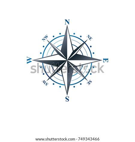 Navigation compass emblem, geography orientation theme. Heraldic vector design element, exploration symbol.  Retro style label, heraldry logo.
