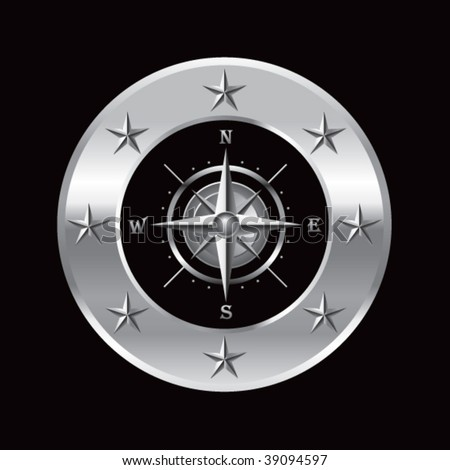 navigation compass in silver star banner