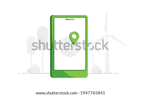 Navigation concept illustration with Location Marker. Mobile phone with map. Telephone GPS. User geolocation. Flat design. Green. Eps 10