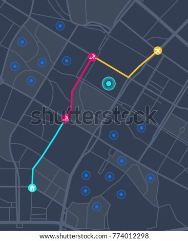Navigation concept with pin pointer vector illustration.